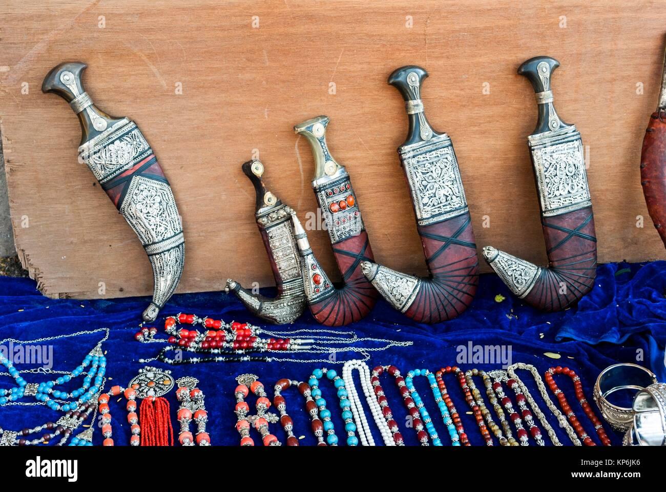 Shopping in Taiz: Yemeni crafts. Taiz. capital of Taiz Governorate, Republic of Yemen. - Stock Image