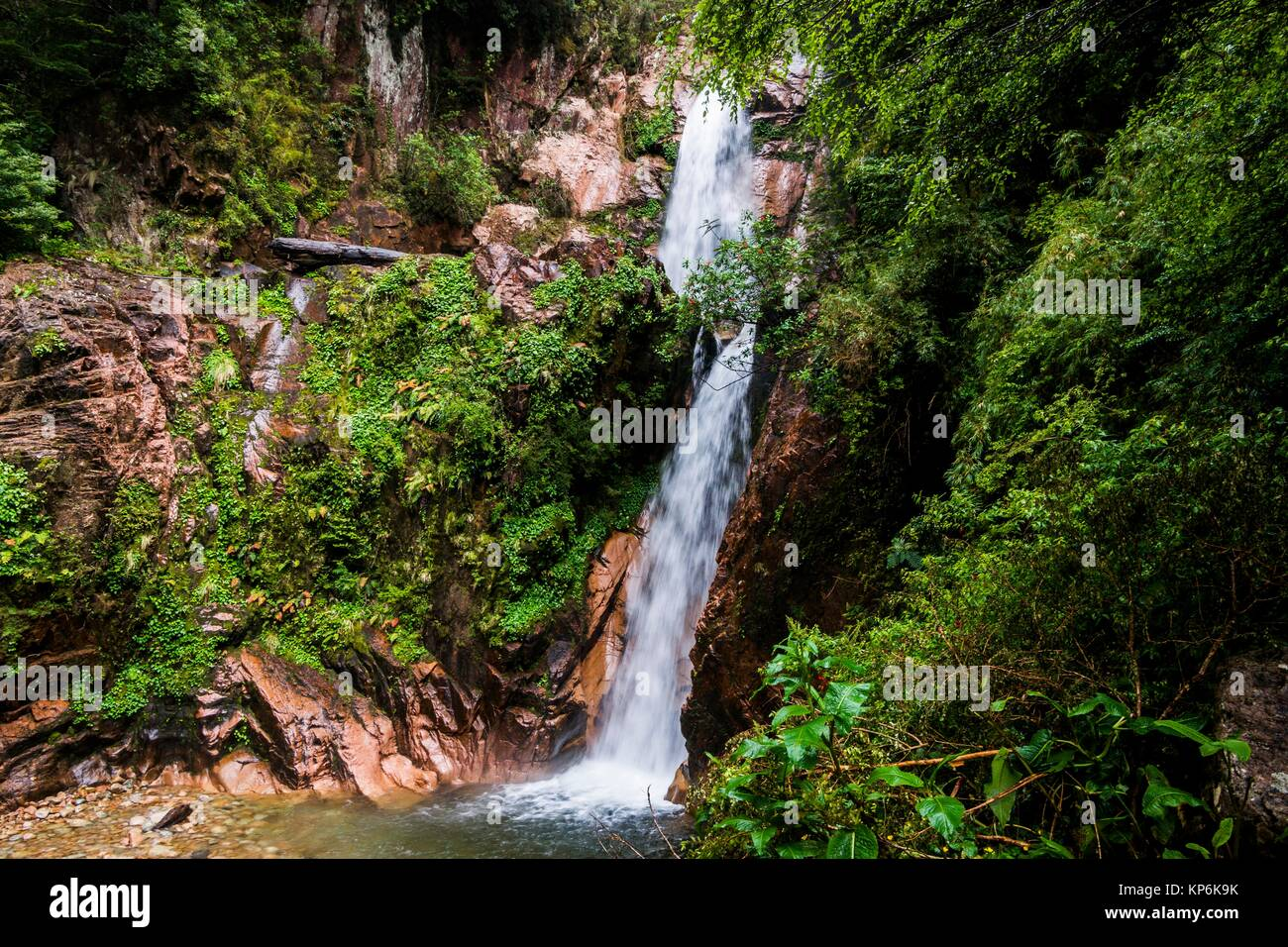 Waterfall of the Virgin (Cascada de la Virgen), Coyhaique and Aysén Regions, Puerto Chacabuco, Patagonia, Chile, - Stock Image