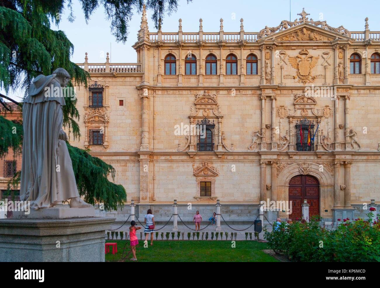 Universidad de Alcalá de Henares with cardenal Cisneros statue. Madrid. Spain. Stock Photo