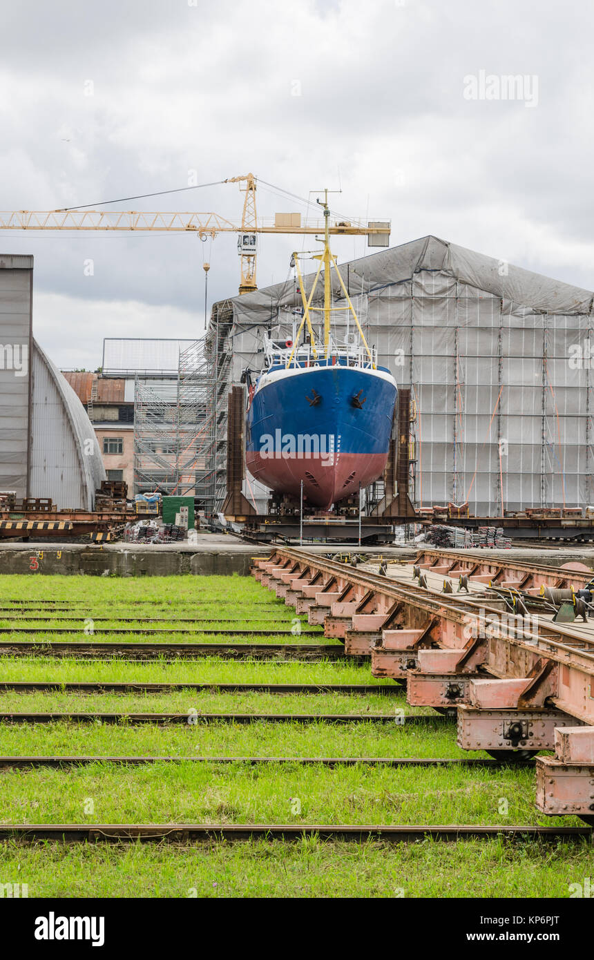 The ship on the stocks in the shipyard Stock Photo