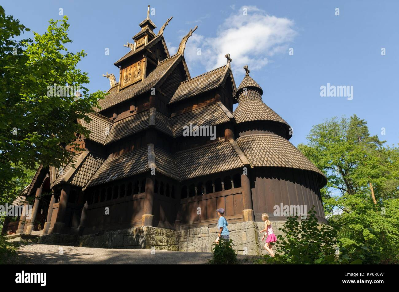 Norwegian Folk Museum, one of the world´s oldest and largest open-air museums, with 155 traditional houses - Stock Image