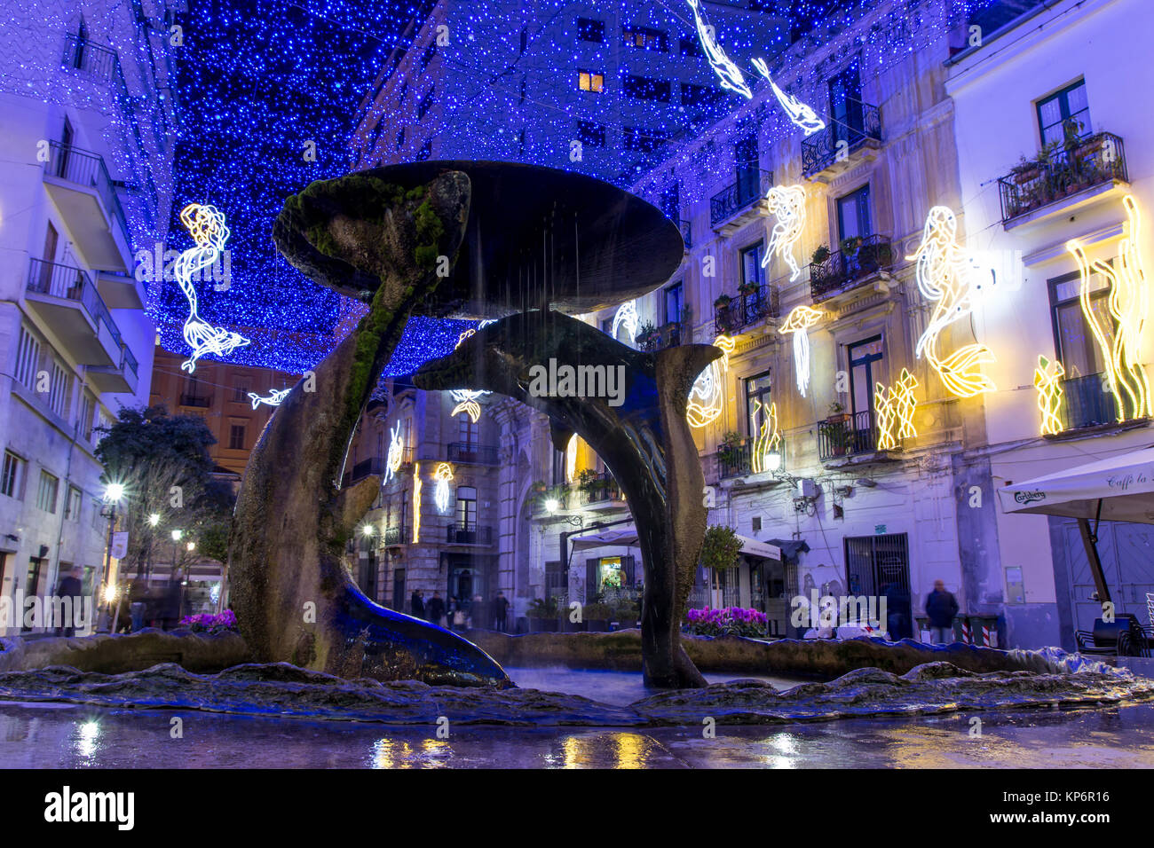 SALERNO - ITALY, December 13, 2017: Christmas lights  during the event Luci d'artista, sealife theme. God Neptune, Stock Photo