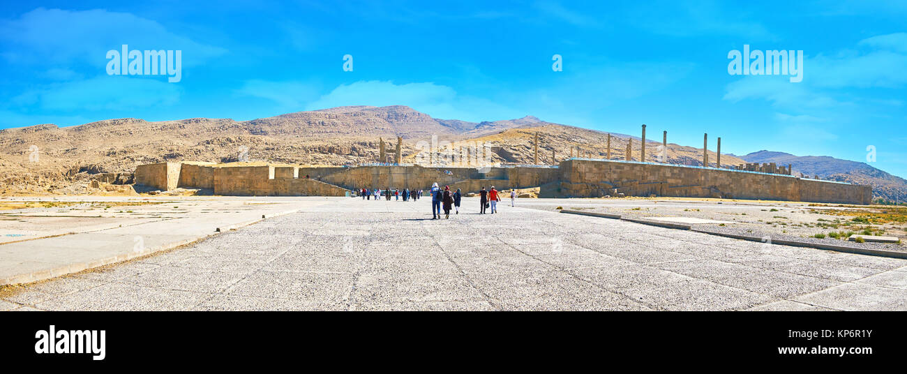 PERSEPOLIS, IRAN - OCTOBER 13, 2017: Panorama of the archaeological site with preserved massive fortification wall, - Stock Image