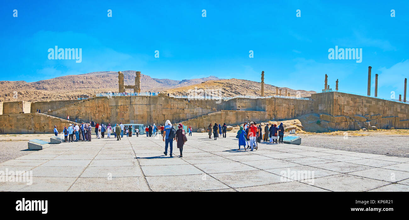 PERSEPOLIS, IRAN - OCTOBER 13, 2017: People visit world famous archaeological site, located on the plateau in Zagros - Stock Image