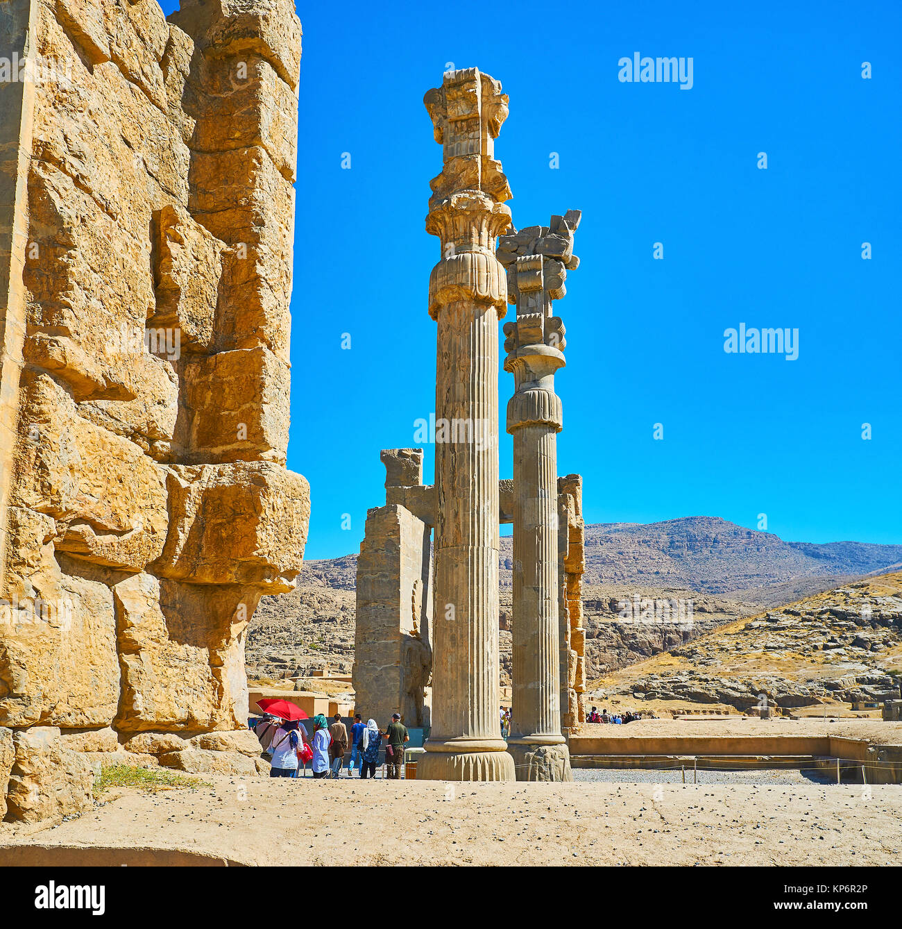 PERSEPOLIS, IRAN - OCTOBER 13, 2017: The ruins of All Nations Gate (Xerxes Gate) with preserved slender carved columns, Stock Photo