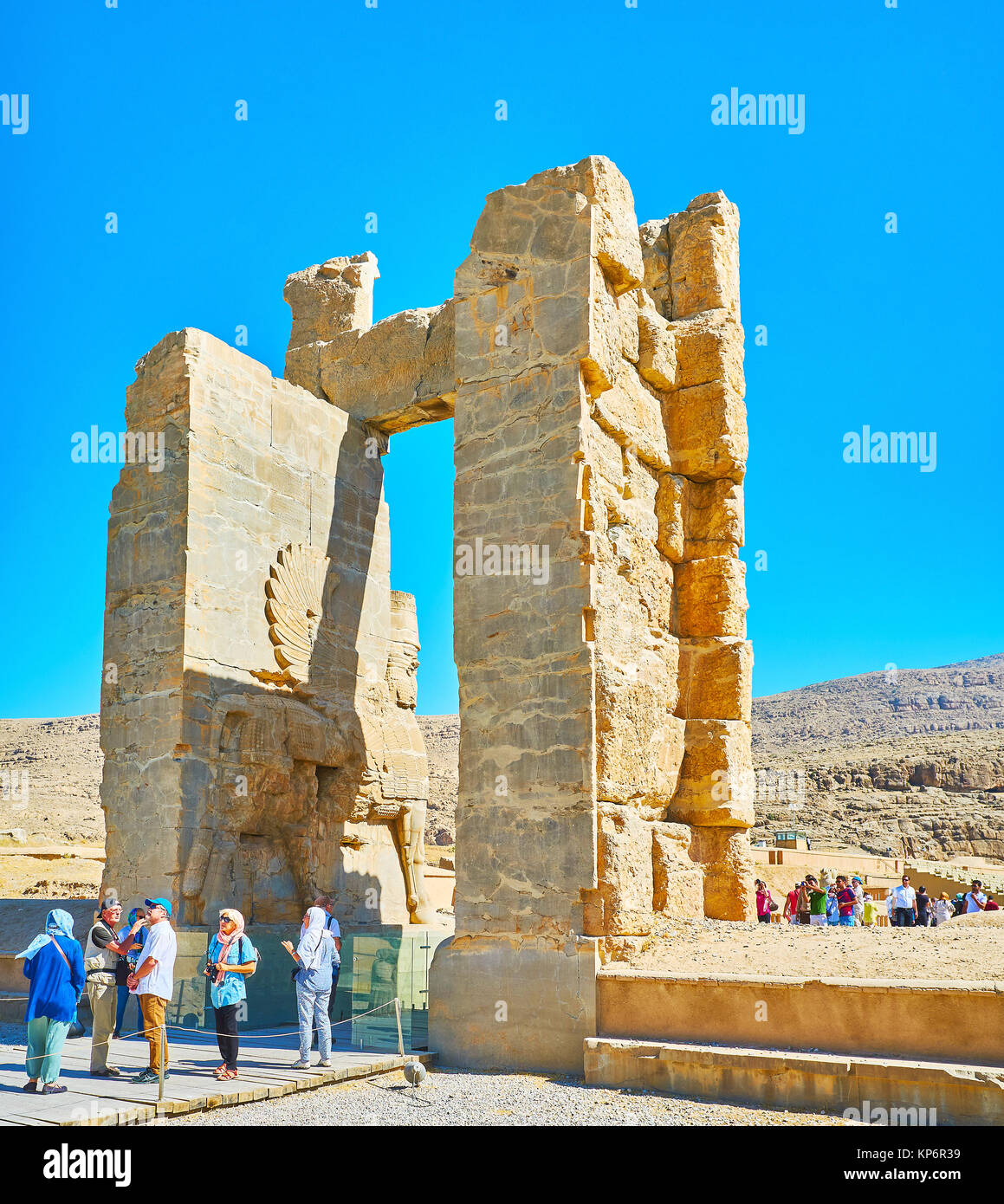 PERSEPOLIS, IRAN - OCTOBER 13, 2017: The All Nations Gate (Xerxes Gate) in Persepolis archaeological site is one Stock Photo
