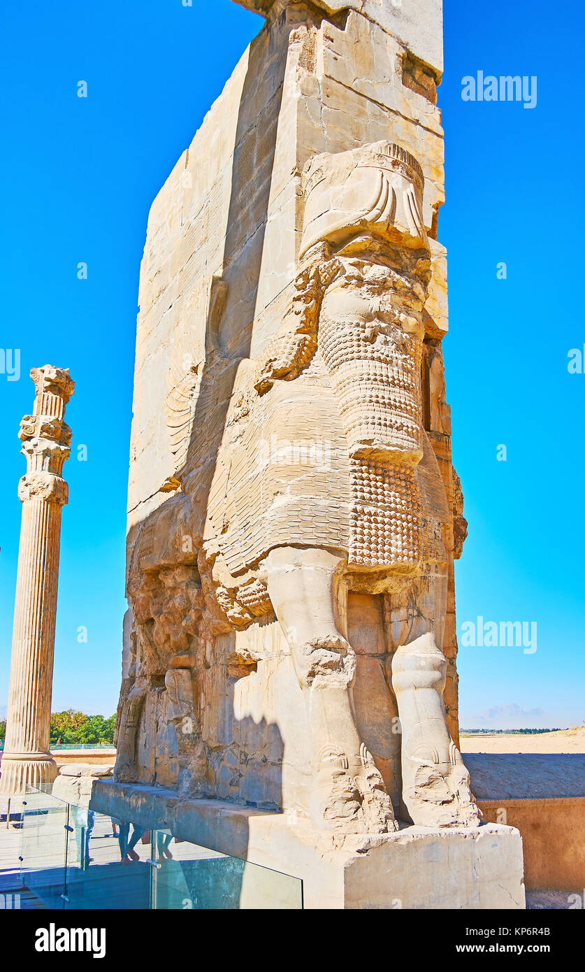 The colossal statue of Assyrian Lamassu protective deity at the eastern entrance to the ancient Xerxes Gate (All Stock Photo