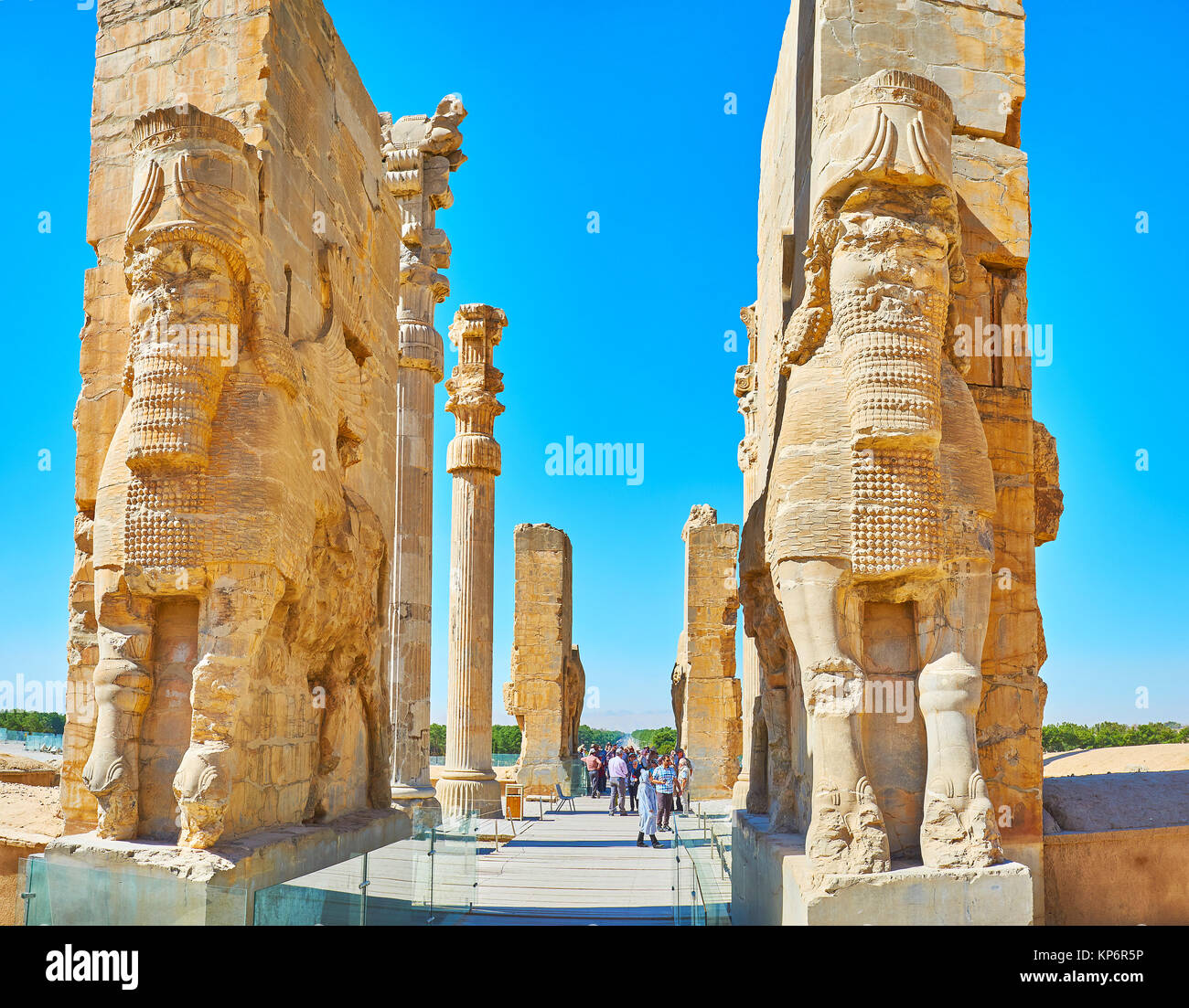 PERSEPOLIS, IRAN - OCTOBER 13, 2017: The great entrance to All Nations Gate (Xerxes Gate) in Persepolis archaeological - Stock Image