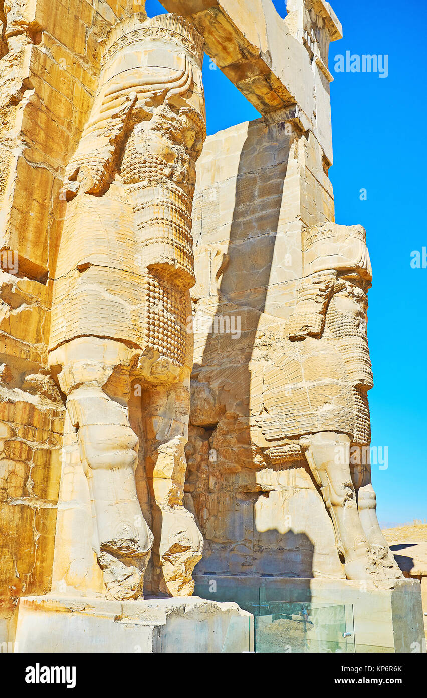 The stone statues of Lamassu (Assyrian deity) are the part of the eastern entrance to the All Nations Gate (Xerxes - Stock Image