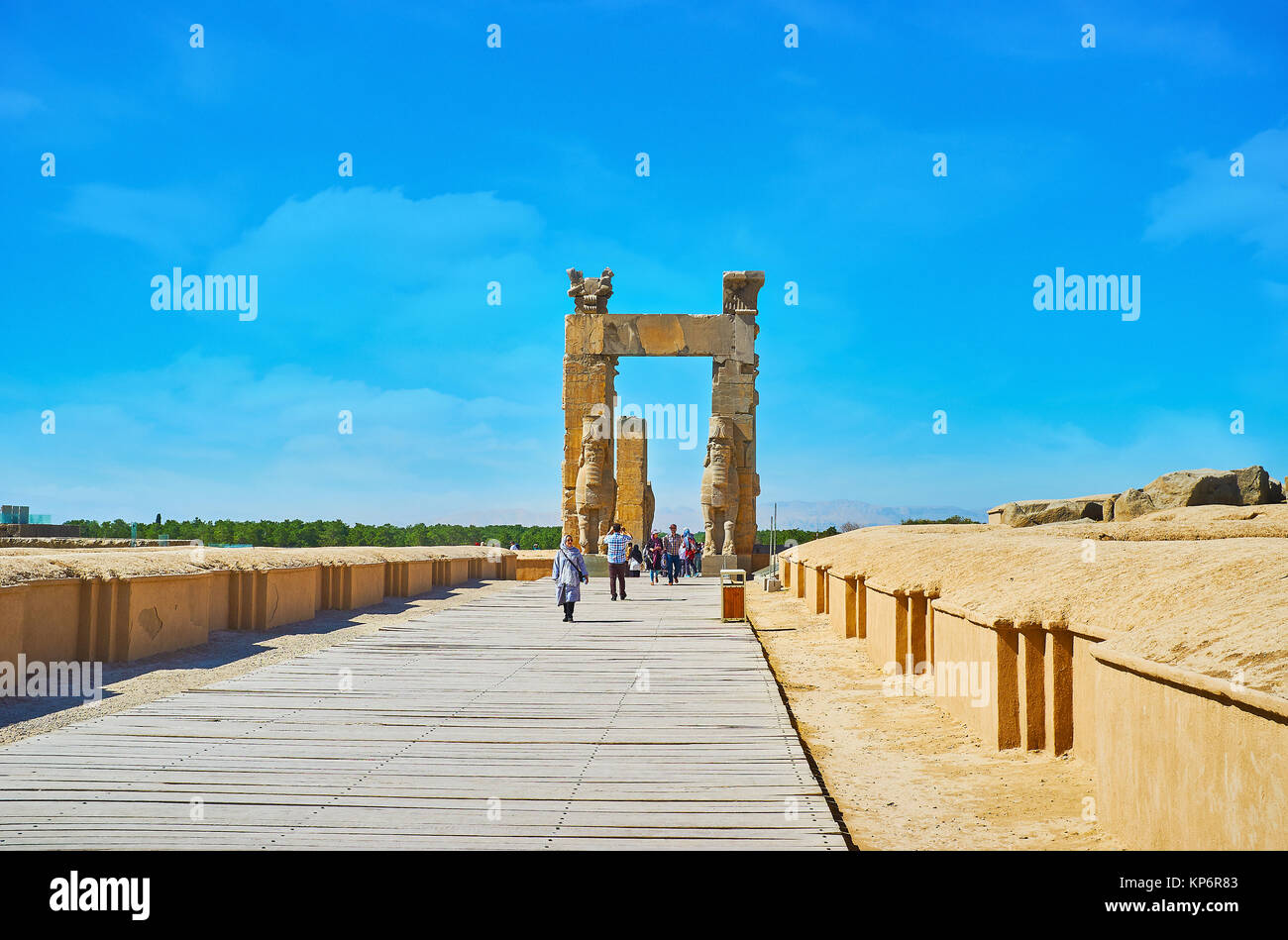 PERSEPOLIS, IRAN - OCTOBER 13, 2017: The way along the foundations of ancient buildings to All Nations Gates (Xerxes - Stock Image