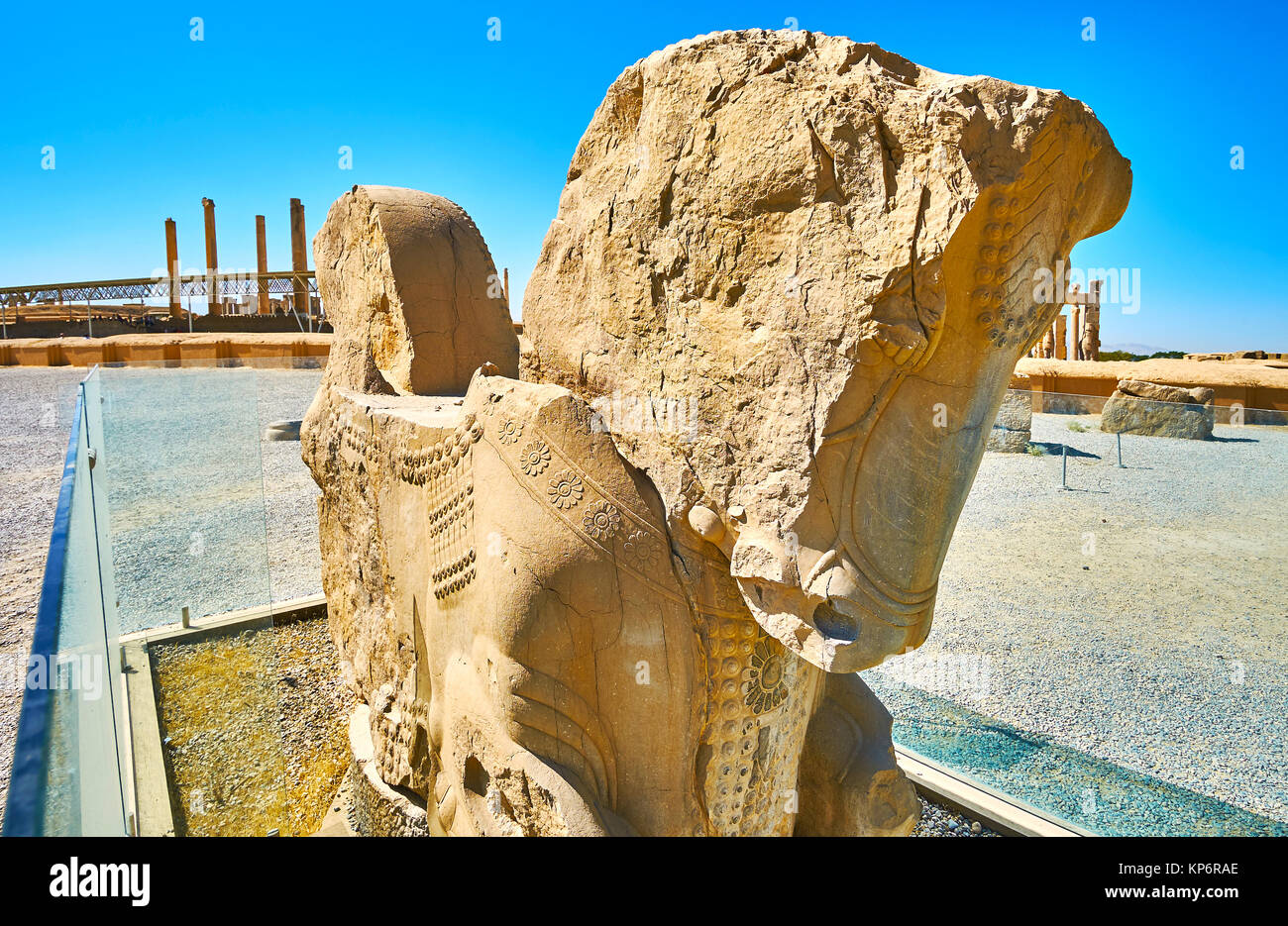 The ruins of the stone double-headed horse protome in Persepolis, the largest palace site in Middle East, Iran. - Stock Image