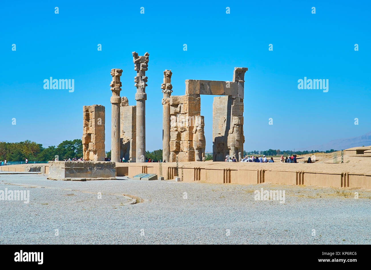 PERSEPOLIS, IRAN - OCTOBER 13, 2017: The ruins of Xerxes (All nations) Gate are one of the most famous landmarks Stock Photo