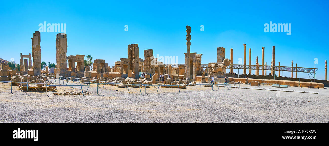 PERSEPOLIS, IRAN - OCTOBER 13, 2017: Panorama Persepolis archaeological complex, the ruins of Hundred Columns Hall - Stock Image