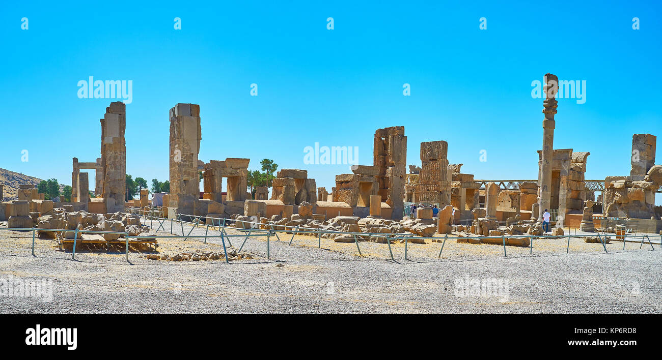 Hundred Columns Hall is preserved part of Persepolis archaeological site, it boasts preserved gates with reliefs, - Stock Image