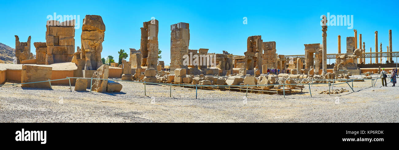 PERSEPOLIS, IRAN - OCTOBER 13, 2017: The large archaeological complex of Persepolis includes the ruins of different - Stock Image