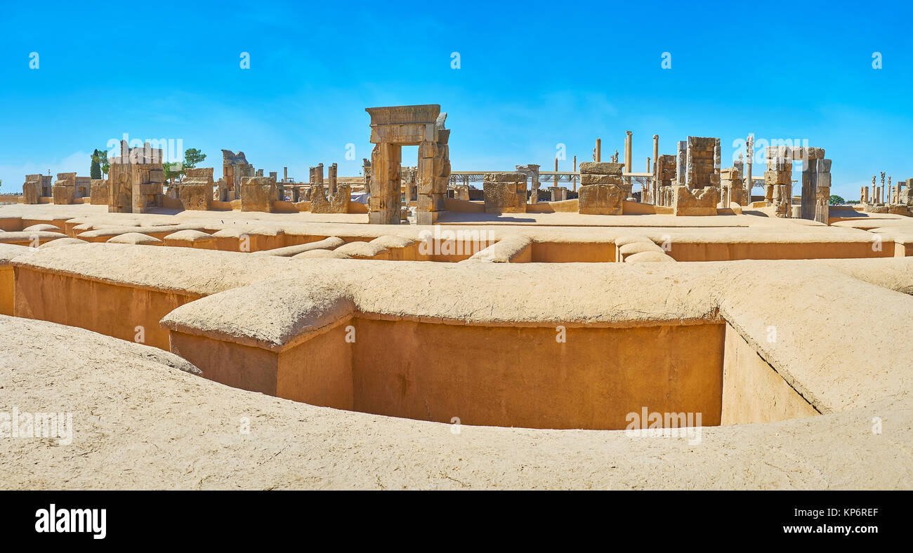 The site of ancient Persepolis includes remains of many great palaces and ceremonial buildings, Iran. - Stock Image