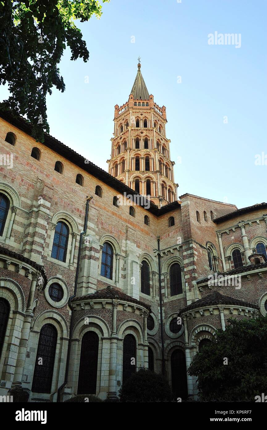 The Romanesque Basilica of Saint-Sernin, XI-XIIth centuries, is a UNESCO World Heritage Site. The tower. Toulouse, - Stock Image