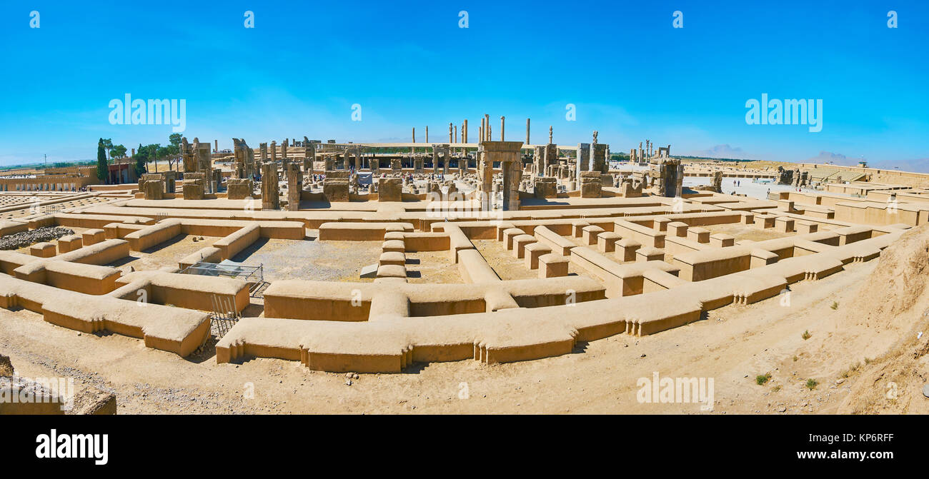 Rahmet Mount opens great view on the ruins of ancient Persepolis with its gates and columns, Iran. - Stock Image