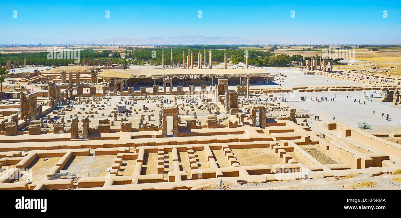 The aerial view of objects of Persepolis archaeological site, Iran. - Stock Image