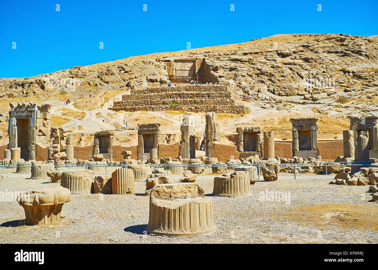 Persepolis archaeological site is interesting tourist location with many preserved antiquities, architectural objects, - Stock Image