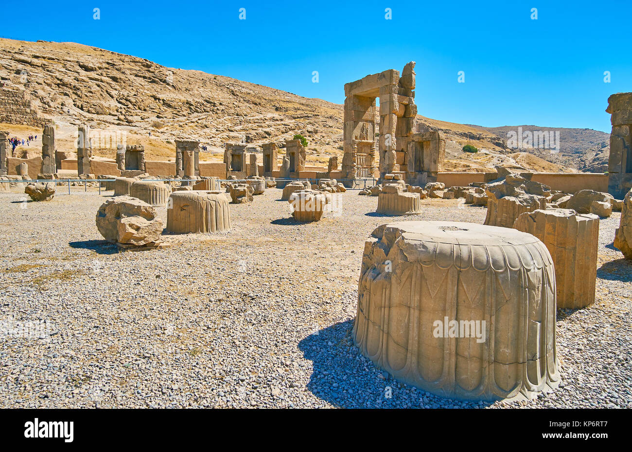 Persepolis was the ceremonial capital of Persian Empire, nowadays it's archaeological site with preserved remains - Stock Image