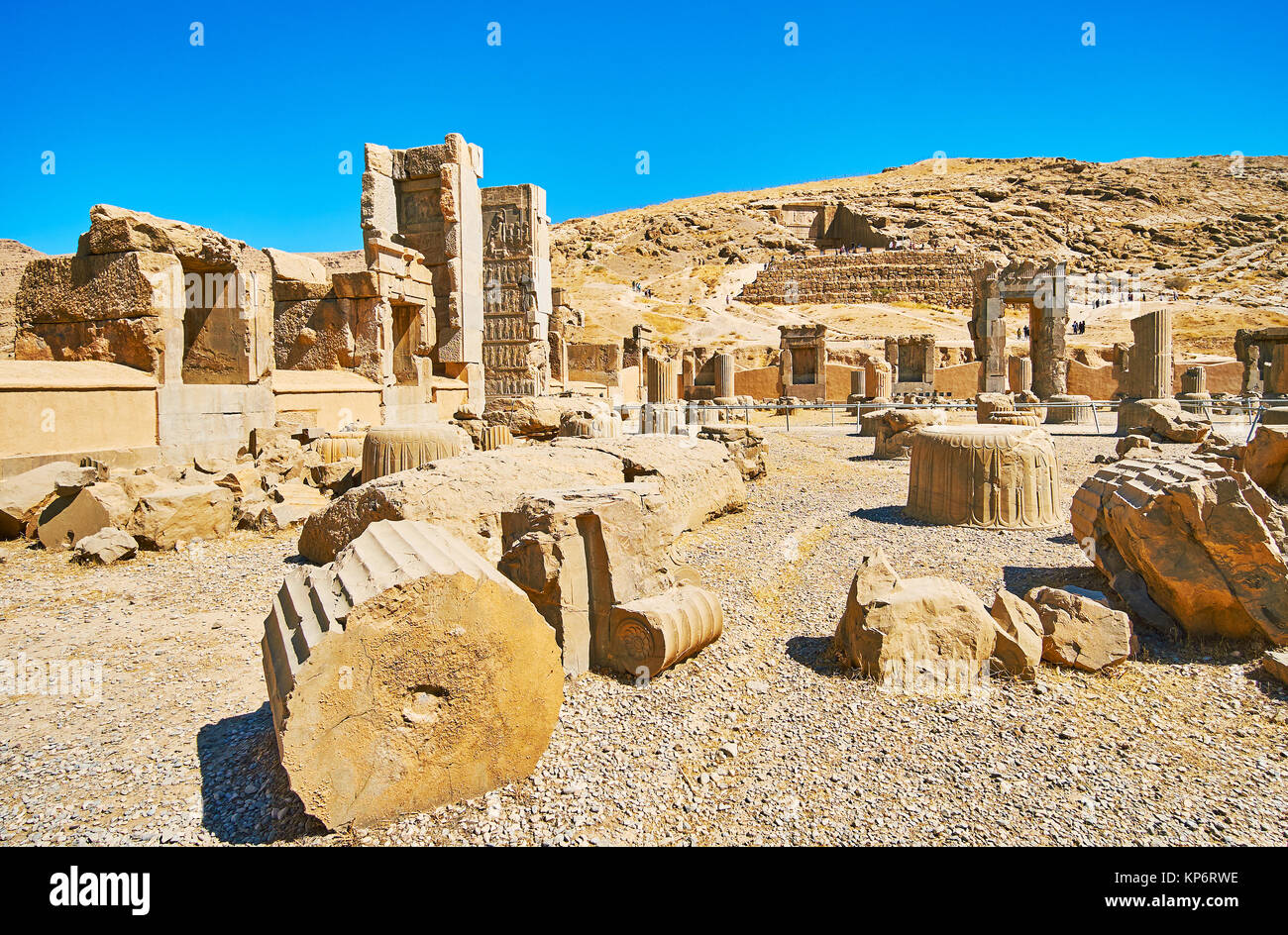 Persepolis complex is famous for preserved ancient palaces and tombs, Iran. - Stock Image