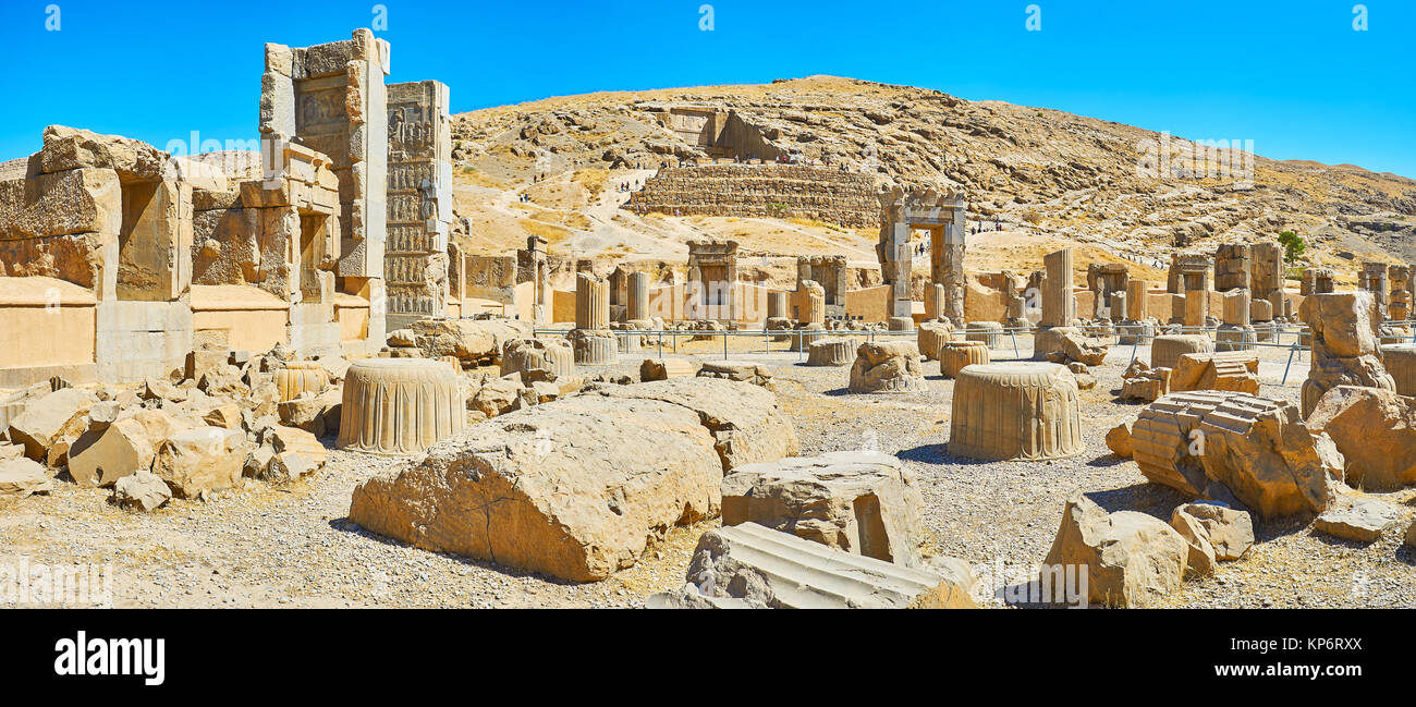Panorama of Hundred Columns Hall with numerous gates and broken columns, Persepolis, Iran. - Stock Image