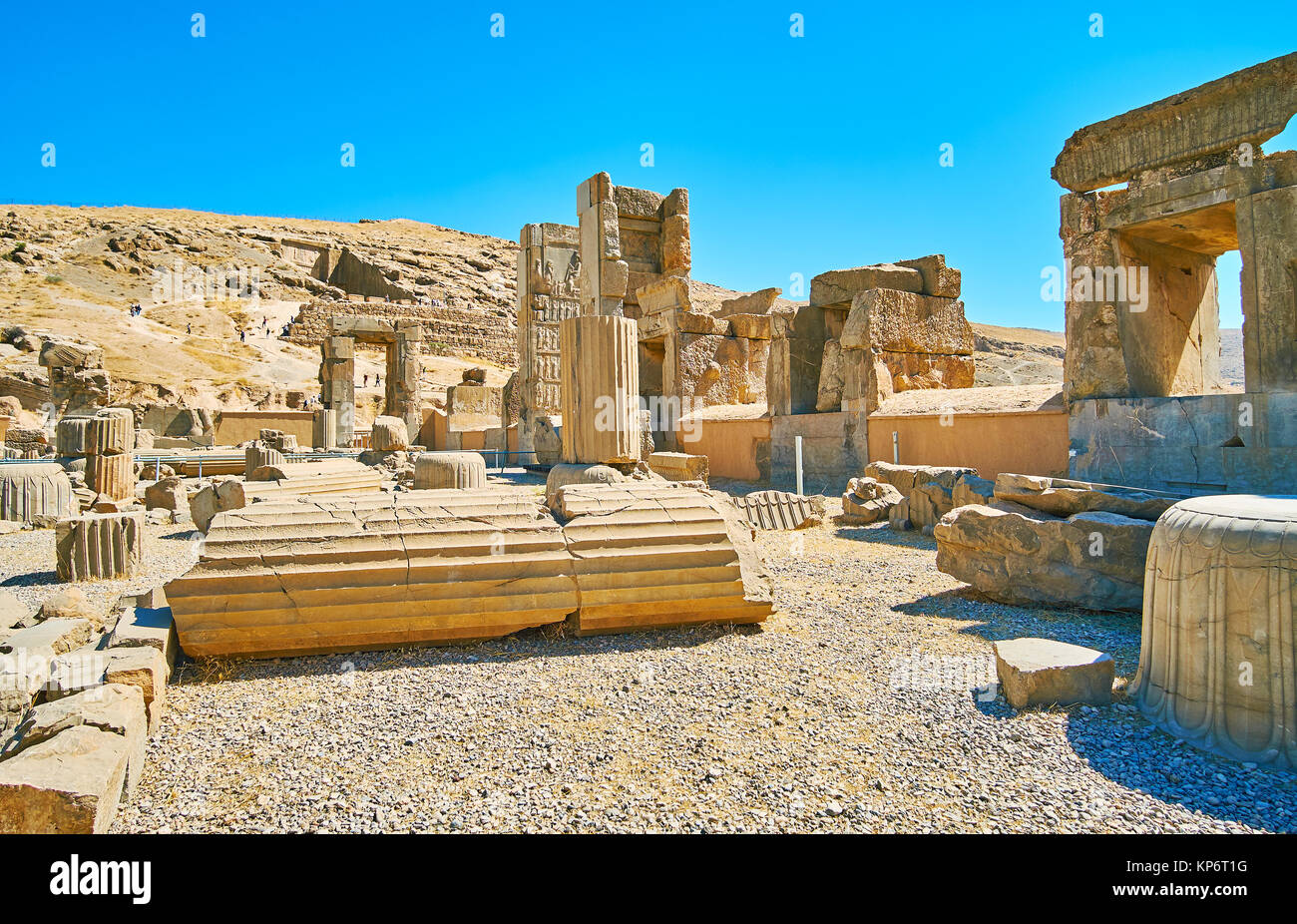 The ancient Persepolis is full of scenic destinations with interesting preserved objects, Iran. - Stock Image