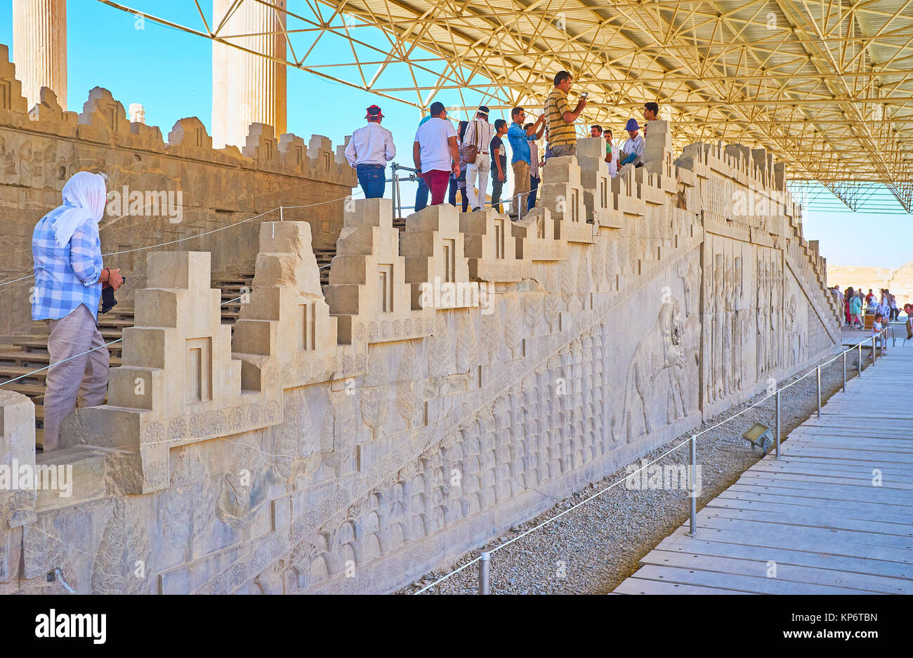 PERSEPOLIS, IRAN - OCTOBER 13, 2017: The Eastern Stairs of Apadana palace are famous for outstanding reliefs, preserved - Stock Image