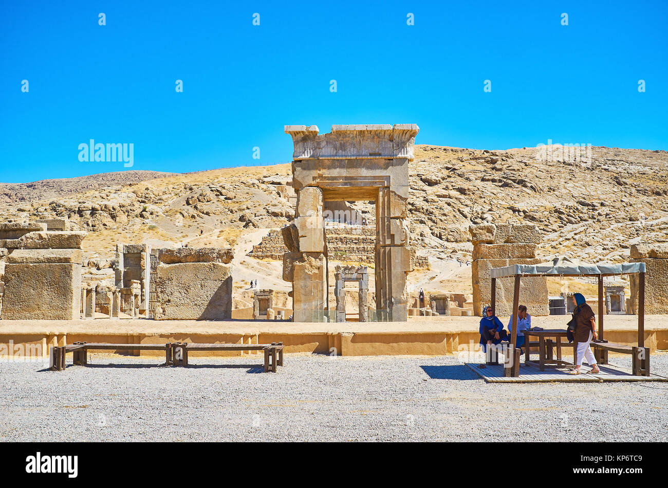 PERSEPOLIS, IRAN - OCTOBER 13, 2017: The archaeological site of Persepolis with preserved architecture of ancient - Stock Image