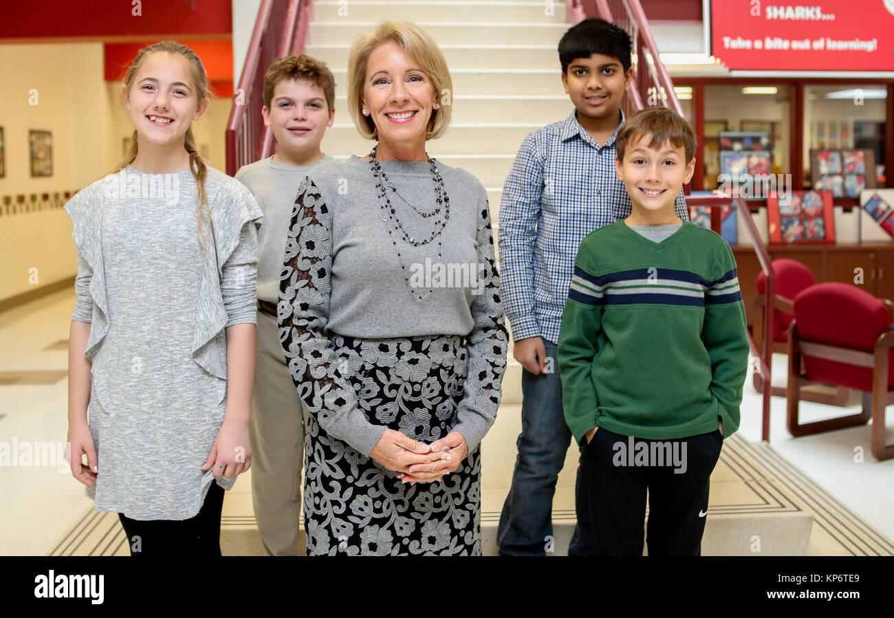 u s education secretary betsy devos visits students at the stock