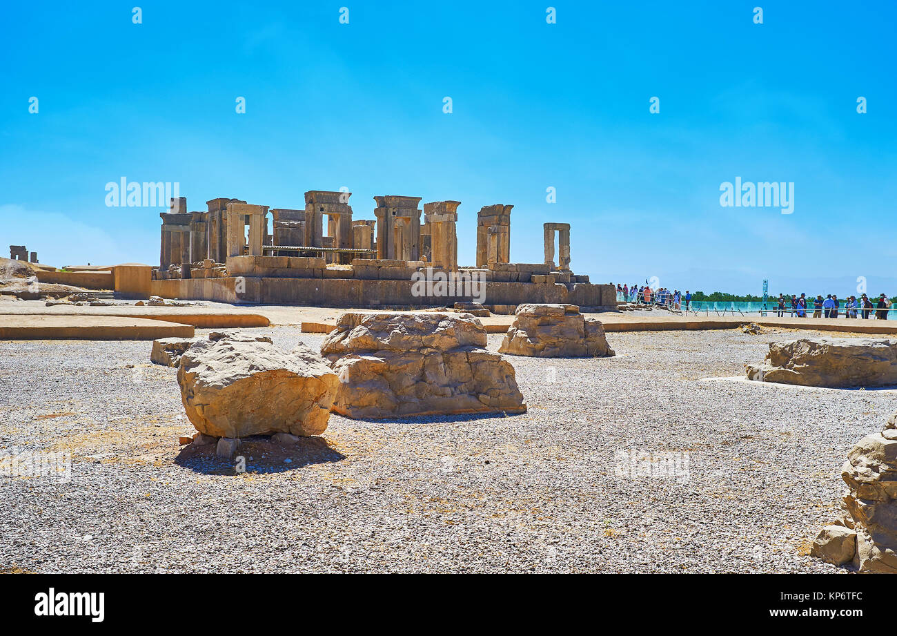 PERSEPOLIS, IRAN - OCTOBER 13, 2017: The ruins of Tachara, the winter palace in Persepolis archaeological site, - Stock Image