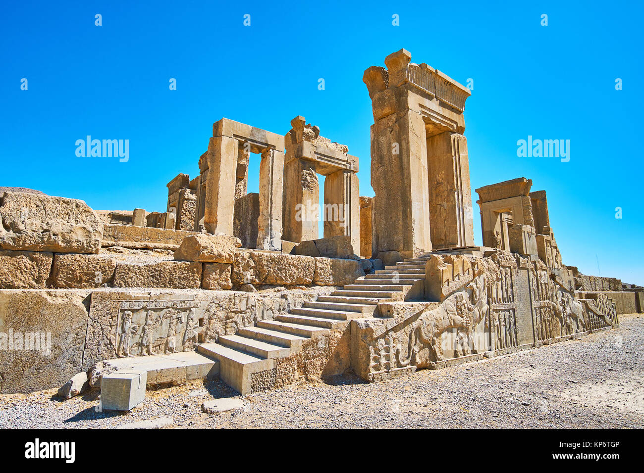 The masterpiece relief on the facade wall of the staircase of Tachara palace (winter palace) in Persepolis archaeological - Stock Image