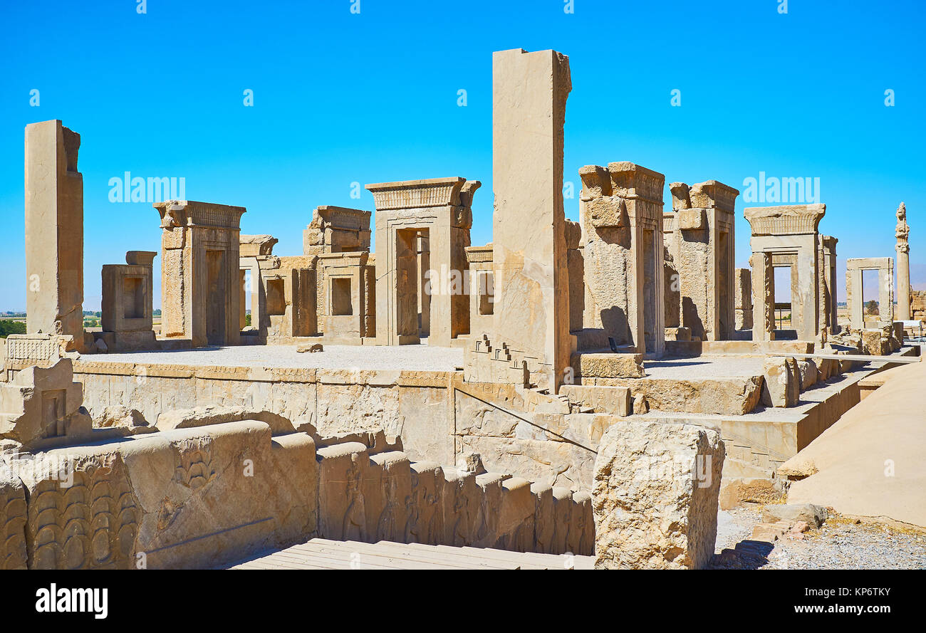 Archaeological site of Persepolis include preserved landmarks of ancient Persia, such as Tachara palace (winter - Stock Image