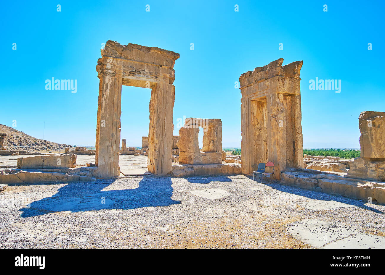 The ruins of Tripylon, ancient Council Hall of Persian King, Persepolis archaeological site, Iran. - Stock Image