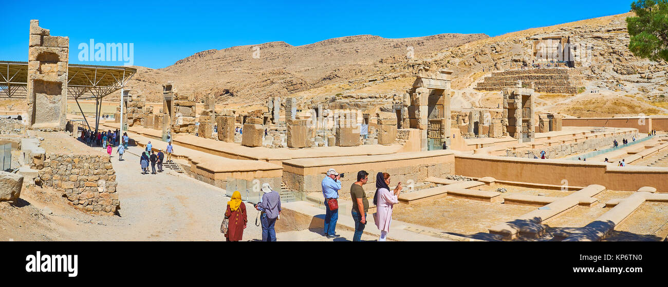 PERSEPOLIS, IRAN - OCTOBER 13, 2017: Panorama of Persepolis archaeological site from the hill with a view on Hundred - Stock Image