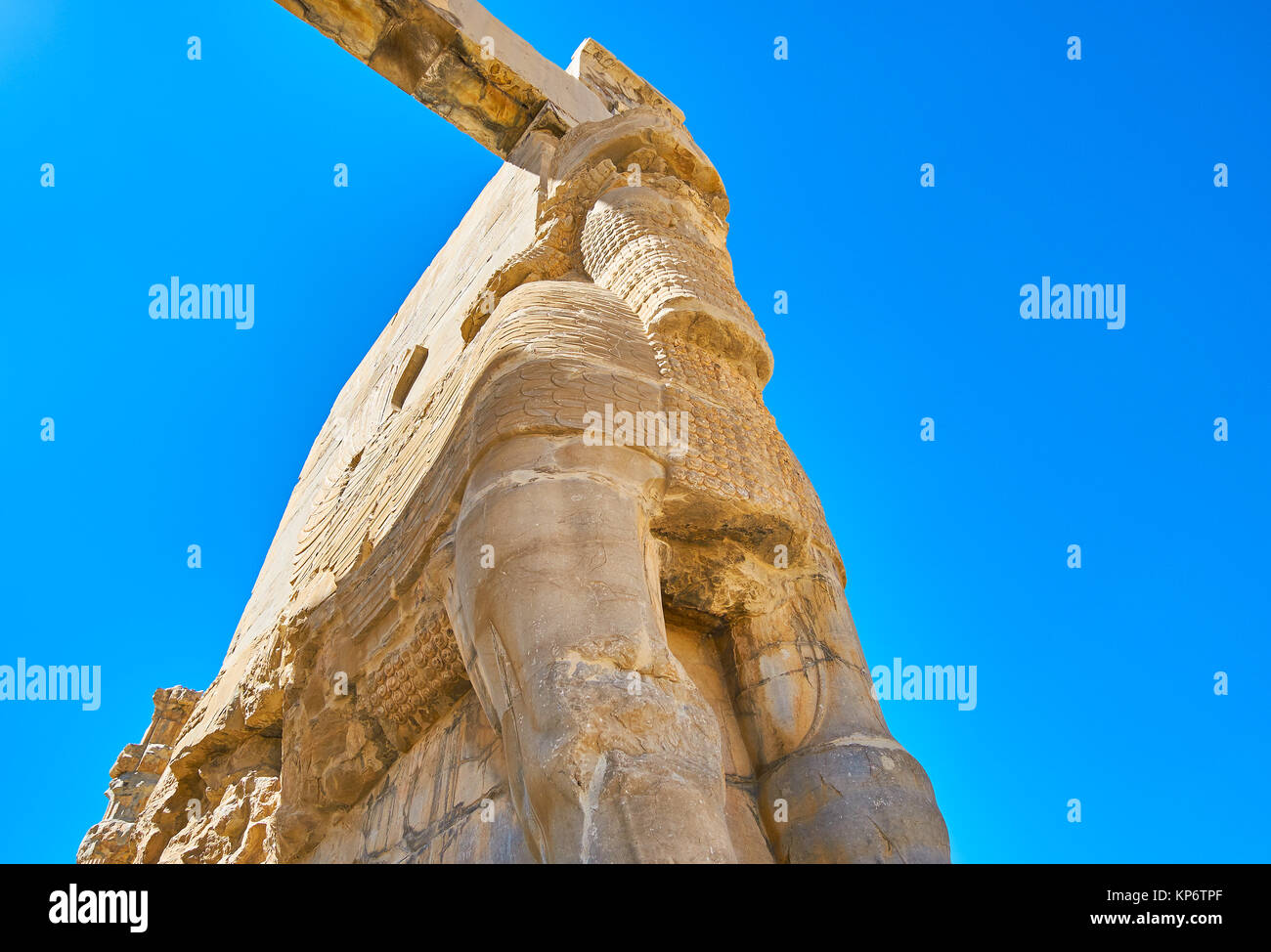 Ancient Xerxes Gate also named All Nations Gate with preserved parts of the Lamassu colossus, Persepolis archaeological Stock Photo