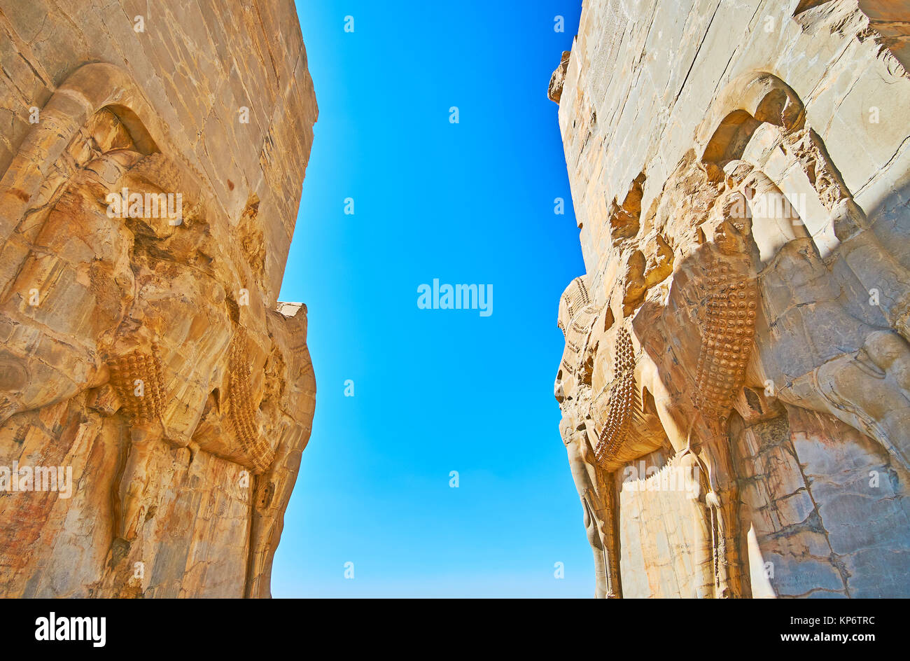 The ancient giant statues of bulls on walls of All Nations (Xerxes) Gate in Persepolis archaeological site, Iran. Stock Photo