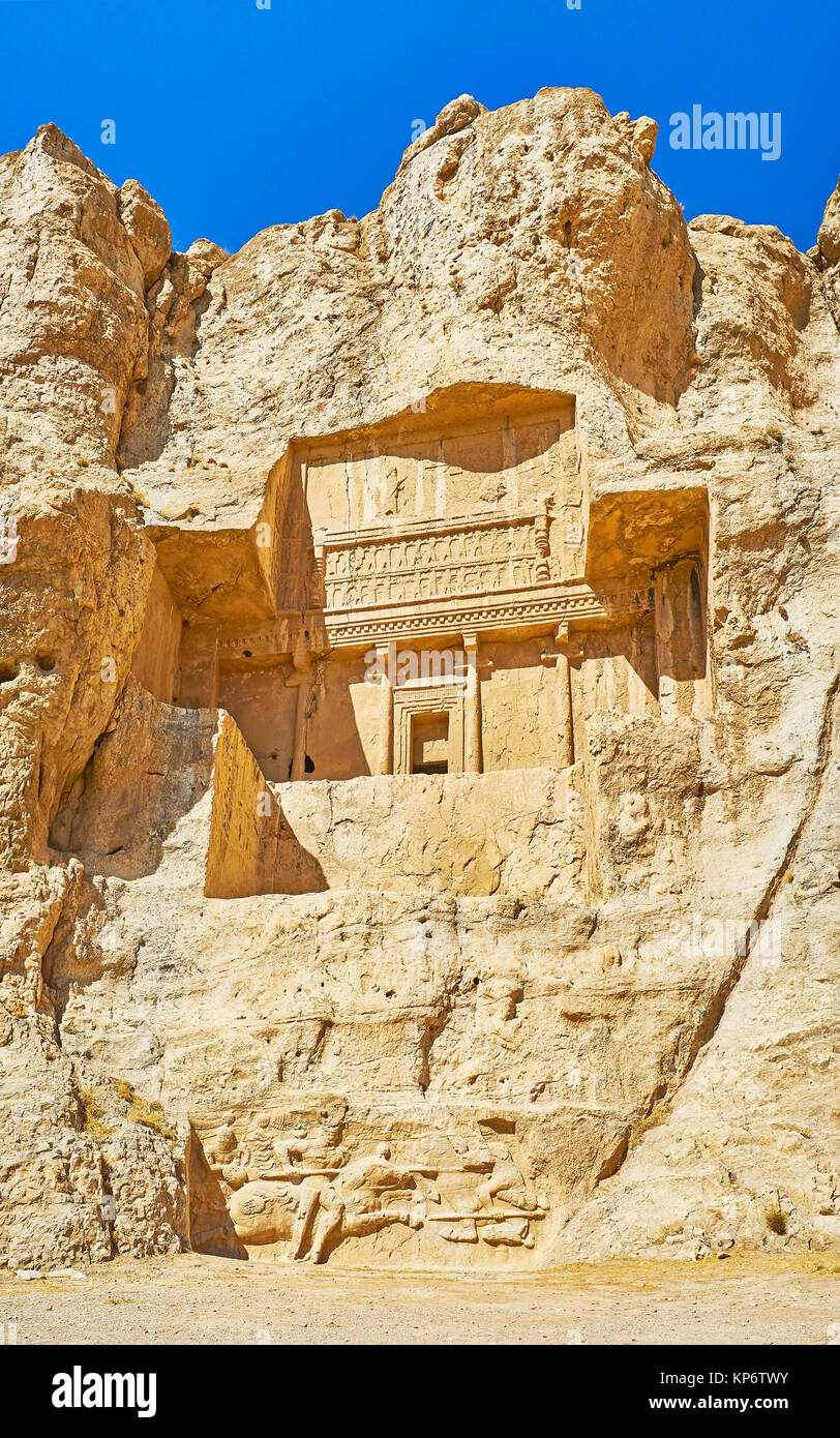The Necropolis of Naqsh-e Rustam archaeological site with giant tomb in cliff and  equestrian relief, located from - Stock Image