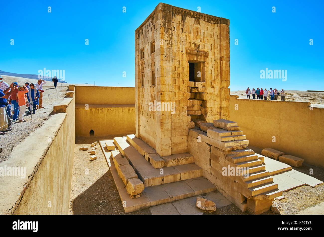 NAQSH-E RUSTAM, IRAN - OCTOBER 13, 2017: The ancient building of Ka'ba-ye Zartosht - Zoroaster tower or chamber - Stock Image