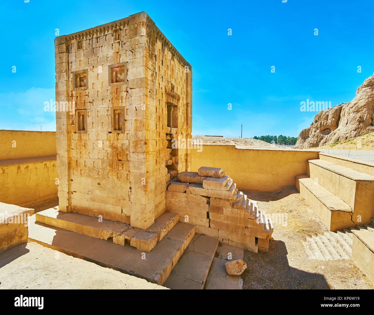 Ka'ba-ye Zartosht is the ancient tower, built of limestone on territory of Naqsh-e Rustam Necropolis, Iran. - Stock Image