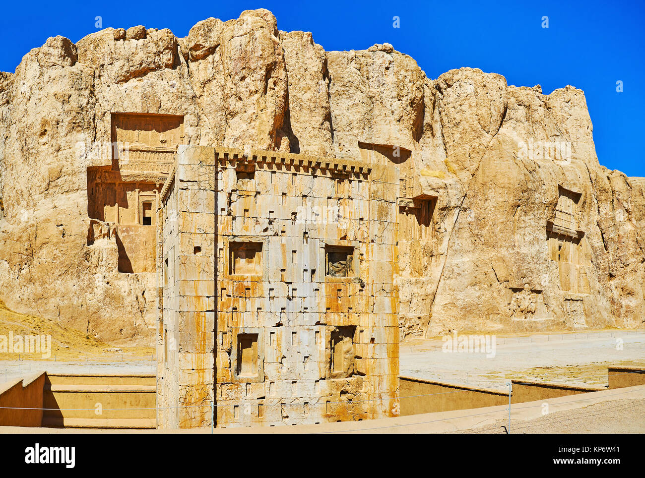 Panorama of Naqsh-e Rustam Necropolis with a view on Zoroaster tower and tombs in Hossein Mount on the background, - Stock Image