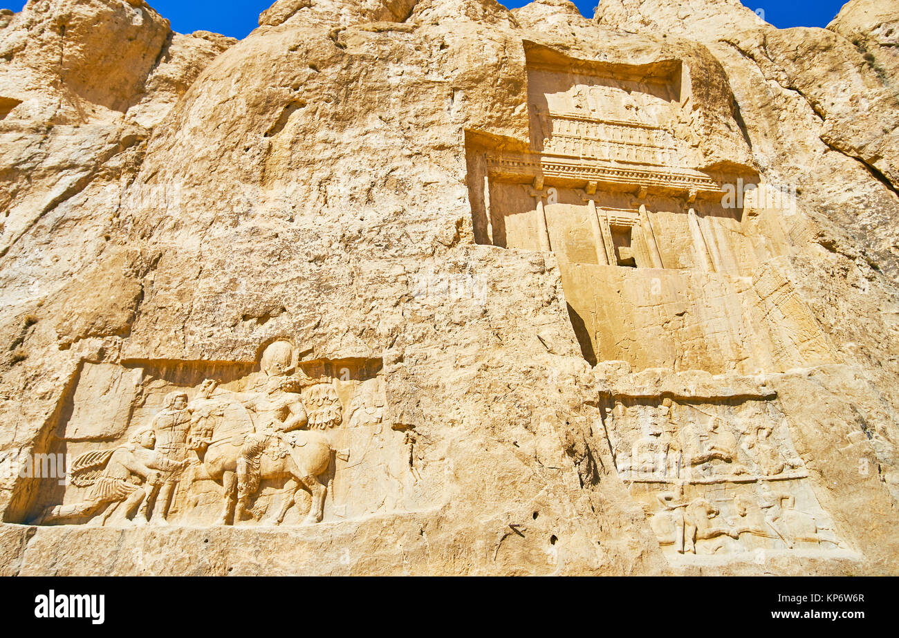 The mausoleum of Darius II and the equestrian reliefs from below of it, Naqsh-e Rustam archaeological site, Iran. - Stock Image