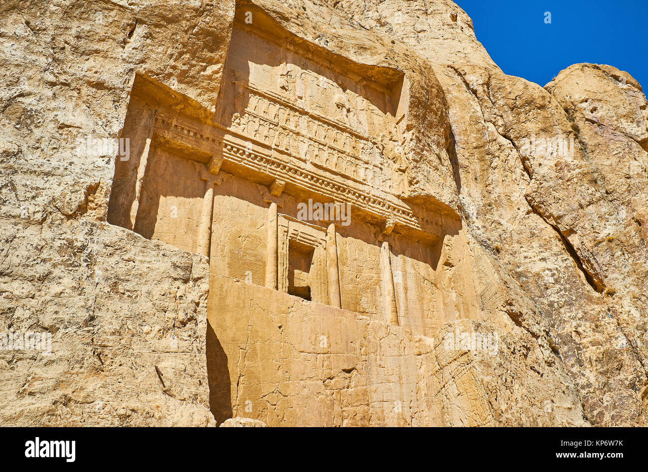 Mausoleum in rock of Naqsh-e Rustam archaeological site, Iran. - Stock Image