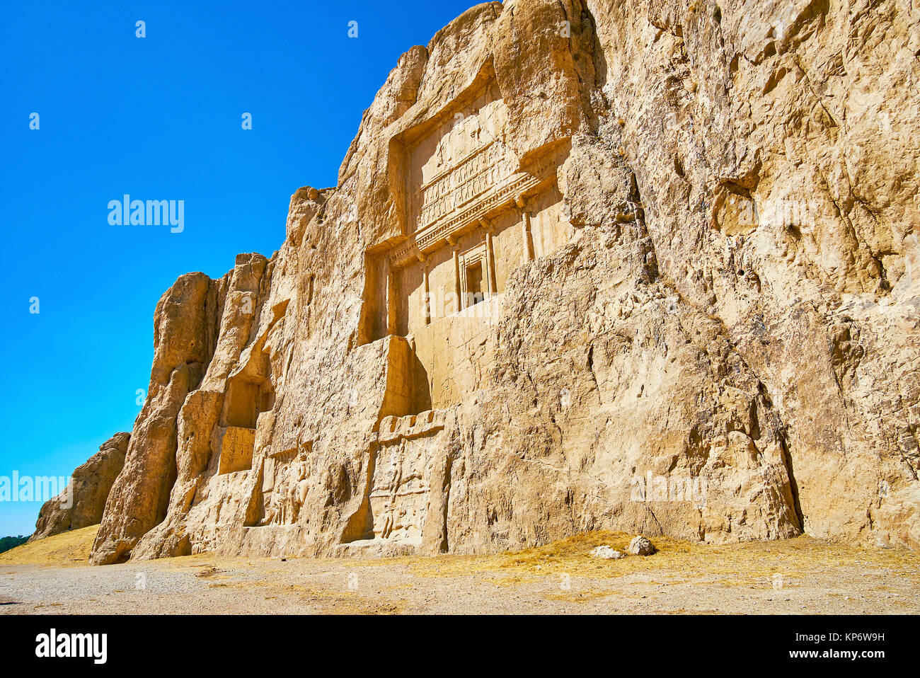 Hossein Mount in Naqsh-e Rustam Necropolis with ancient mausoleums and reliefs, preserved since ancient times, Iran. - Stock Image