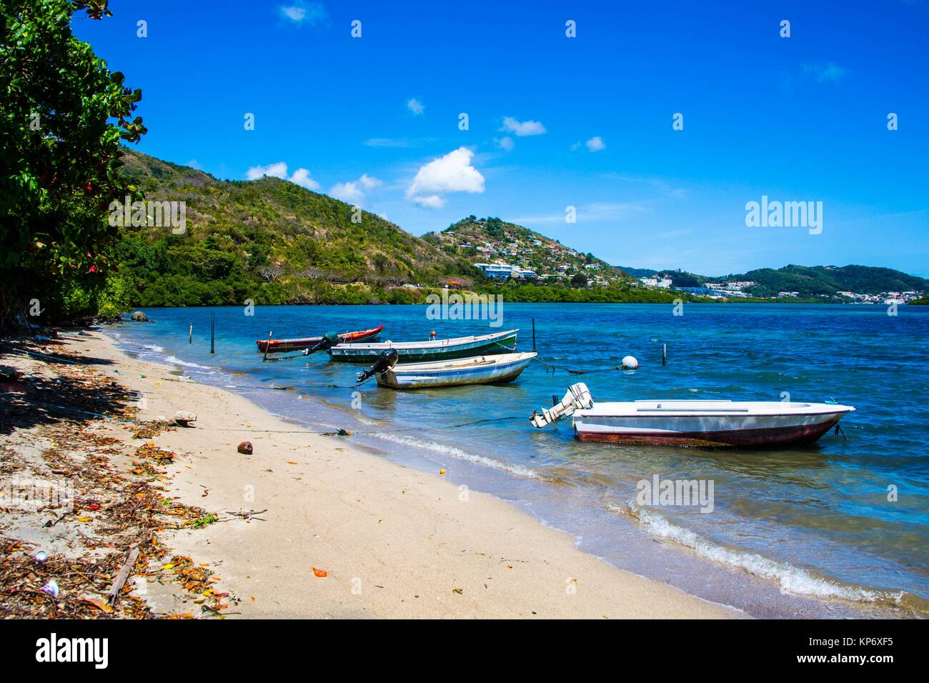 Paradise perfect blue beaches, with palm trees and white sand. They reflect the perfect paradise. - Stock Image