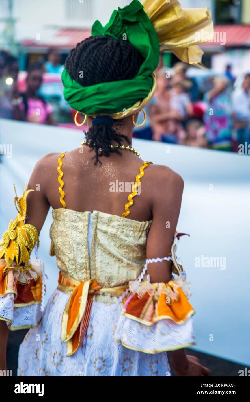 Mardi gras paparade in Sainte Anne, a little village in the South of Martinique. Stock Photo