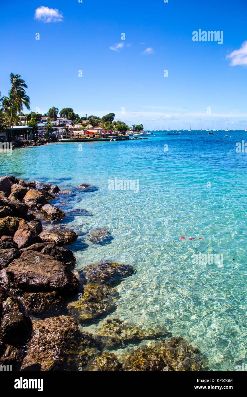 Gorgeous blue sea through transparent water in the South of Martinique. Caribbean - Stock Image