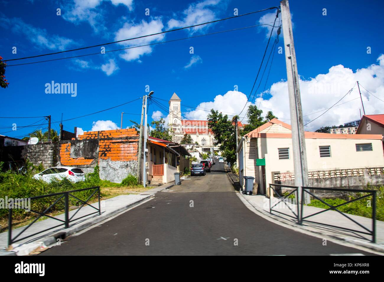 Narrow Streets views of the city of Fort de France, Martinique. - Stock Image