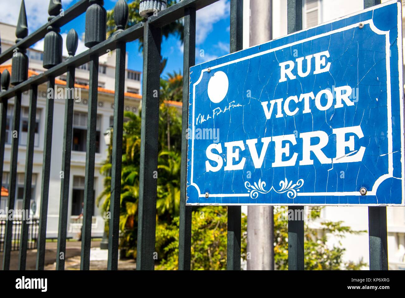 Street Sign of the famous Rue Victor Severe in Fort de France, Martinique. - Stock Image